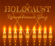 Holocaust remembrance day background. Candles, David star and jewels Royalty Free Stock Photography