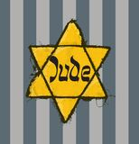 Jude star and pyjamas of concentration camp. Holocaust Remembrance Day design, May 5. Jude star and pyjamas of concentration camp royalty free illustration