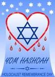 Holocaust remembrance day, hebrew text yom hashoah. Flyer with bleeding heart and David star symbol. Royalty Free Stock Photos