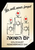 Holocaust remembrance day, hebrew text yom hashoah. Flyer in street art style with candles Royalty Free Stock Images
