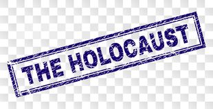 Scratched THE HOLOCAUST Rectangle Stamp. THE HOLOCAUST stamp seal imprint with rubber print style and double framed rectangle shape. Stamp is placed on a royalty free illustration