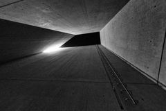 Holocaust tower in Jewish museum in Berlin, Germany. BERLIN, GERMANY - APRIL 9: Holocaust tower in Jewish museum on April 9, 2017 in Berlin stock image