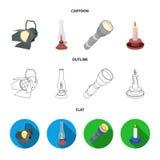 Holofote, lâmpada de querosene, vela, lanterna elétrica Ícones ajustados da coleção da fonte luminosa nos desenhos animados, esbo Imagens de Stock Royalty Free