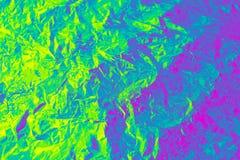 Holograficzny kolor marszcz?ca folia Modna tekstura Neonowa barwiona tekstura dla twój projekta fotografia stock