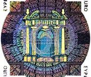 Holografisch flard van Euro bankbiljet honderd Stock Fotografie