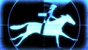 Holografische retro futuristische aftelprocedure met cowboy op paard op zwarte achtergrond nieuwe dynamische kwaliteits universel stock illustratie