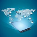 Hologram глобального интернета над передвижным экраном Социальная принципиальная схема средств абстрактная технология сети соедин иллюстрация вектора