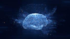 Hologram мозга цифров иллюстрация вектора