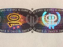Hologram. Protection on a 10 euro banknote Stock Images