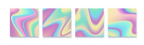 Hologram abstract backgrounds set with white backdrop. Trendy gradient backdrop with hologram. Fluid colors backgrounds set with holographic effect Royalty Free Stock Photos