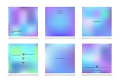 Hologram bright colorful backgrounds set. Vector mesh template. Design for greeting card, report, cover, book, print,poster Stock Photos