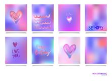 Hologram bright colorful backgrounds set. Vector mesh template. Design for greeting card, report, cover, book, print,poster Stock Photography