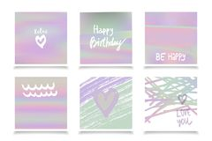 Hologram bright colorful backgrounds set. Vector mesh template. Design for greeting card, report, cover, book, print,poster Royalty Free Stock Photos