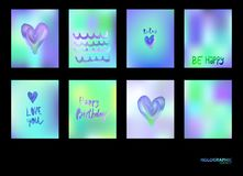 Hologram bright colorful backgrounds set. Vector mesh template. Design for greeting card, report, cover, book, print,poster Stock Images