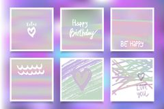 Hologram bright colorful backgrounds set. Vector mesh template. Design for greeting card, report, cover, book, print,poster Royalty Free Stock Photography