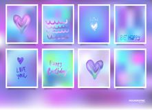 Hologram bright colorful backgrounds set. Vector mesh template. Design for greeting card, report, cover, book, print,poster Royalty Free Stock Images