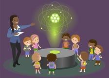Hologram carbon atom physics teacher explains to children. Vector Stock Photos