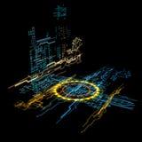 hologram 3d vektor illustrationer