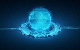 Hologram 3d planet earth stock illustration