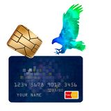 A hologram eagle comes in for a landing on a credit card and an EMV chip hovers nearby in this illustration about credit card secu stock illustration