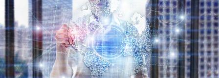 hologram för jord 3D, jordklot, WWW, global affär och telekommunikation royaltyfri fotografi