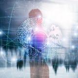 hologram för jord 3D, jordklot, WWW, global affär och telekommunikation arkivfoton