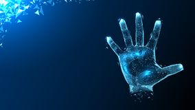 Hologram hands of lines and points. Scanning fingers. Personal identification. A polygonal hologram of a hand made of lines and dots on a blue horizontal Royalty Free Stock Images