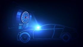 Hologram in HUD UI style. Futuristic car service, scanning and auto data analysis,Virtual Graphical Interface . Vector royalty free illustration
