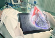 Hologram of human heart as a new age technologies in medical sci. Ence stock photography