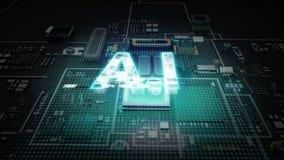 Hologram literówka 'A I na jednostka centralna układu scalonego obwodzie, r sztucznej inteligenci technologię ilustracja wektor