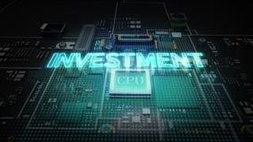 Hologram literówka 'inwestycja' na jednostka centralna układu scalonego obwodzie, r sztucznej inteligenci technologię royalty ilustracja