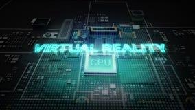 Hologram literówka 'rzeczywistość wirtualna' na jednostka centralna układu scalonego obwodzie, r sztucznej inteligenci technologi ilustracja wektor