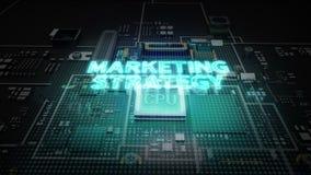 Hologram literówka 'strategia marketingowa' na jednostka centralna układu scalonego obwodzie, r sztucznej inteligenci technologię ilustracji