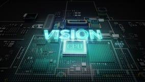 Hologram literówka 'wzrok' na jednostka centralna układu scalonego obwodzie, r sztucznej inteligenci technologię royalty ilustracja