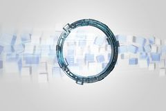 Hologram made of wheel with a futuristic finance data interface. View of a Hologram made of wheel with a futuristic finance data interface - 3d render Stock Photos