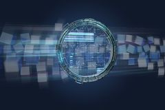 Hologram made of wheel with a futuristic finance data interface. View of a Hologram made of wheel with a futuristic finance data interface - 3d render Stock Photo