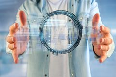 Hologram made of wheel with a futuristic finance data interface. View of a Hologram made of wheel with a futuristic finance data interface - 3d render Royalty Free Stock Photography