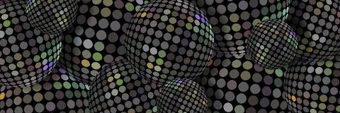 Hologram metal mosaic balls 3d background. Iridescent steel spheres abstract pattern. Modern trend web design banner. stock illustration