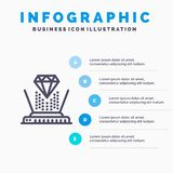 Hologram, Projection, Technology, Diamond Line icon with 5 steps presentation infographics Background vector illustration