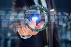 Hologram robić koło z futurystycznym finansowym dane interfejsem Zdjęcia Stock