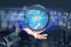 Hologram robić koło z futurystycznym finansowym dane interfejsem Zdjęcie Stock