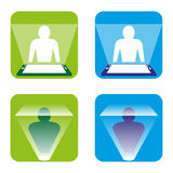 Hologram. A set of hologram icons Stock Photos
