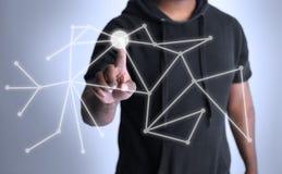 Hologram som visar tekniskt förbinda för punkter fotografering för bildbyråer