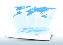 Hologram tablet map world Royalty Free Stock Images