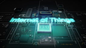 Hologram typo `INTERNET OF THINGS` on CPU chip circuit, grow artificial intelligence technology.