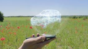 Hologram van Suv op een smartphone stock videobeelden