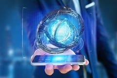 Hologram van wiel met een futuristische gegevensinterface wordt gemaakt - 3d ren die Royalty-vrije Stock Foto's