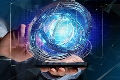 Hologram van wiel met een futuristische gegevensinterface wordt gemaakt - 3d ren die Stock Afbeelding