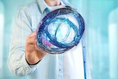 Hologram van wiel met een futuristische gegevensinterface wordt gemaakt - 3d ren die Royalty-vrije Stock Foto