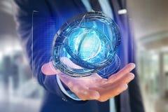 Hologram van wiel met een futuristische gegevensinterface wordt gemaakt - 3d ren die Royalty-vrije Stock Afbeelding